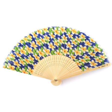 Hawaii Luau Party Favors Wedding Fabric & Wood Folding Hand Fan in Blue Plumeria 2 PACK