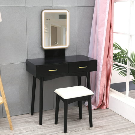 SUNYUAN Vanity Set with Lighted Mirror, 3-Color Touch Screen Dimmable Mirror, Additional Storage Organizer, Sturdy Steel Legs, Bedroom Makeup Dressing Table with Cushioned Stool (Black square)