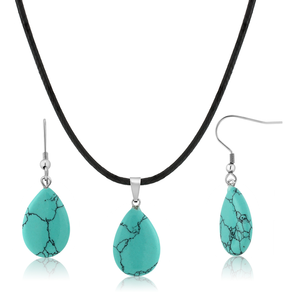 Beautiful Flat Drop Shape Simulated Turquoise Pendant Set With Matching Simulated Turquoise Earrings