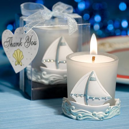 Nautical Themed Sailboat Frosted Glass Candles