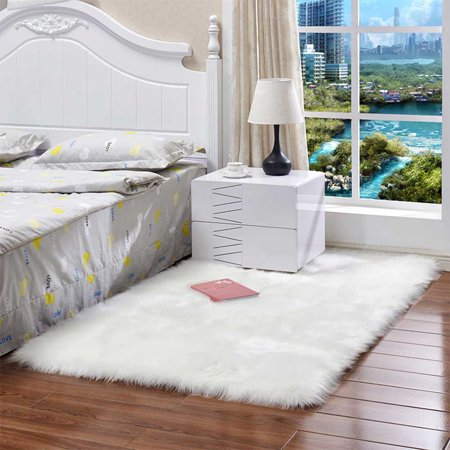 Washable Faux Sheepskin Chair Cover Warm Hairy Wool Carpet Seat Pad Fluffy Area Rugs white 30X30CM