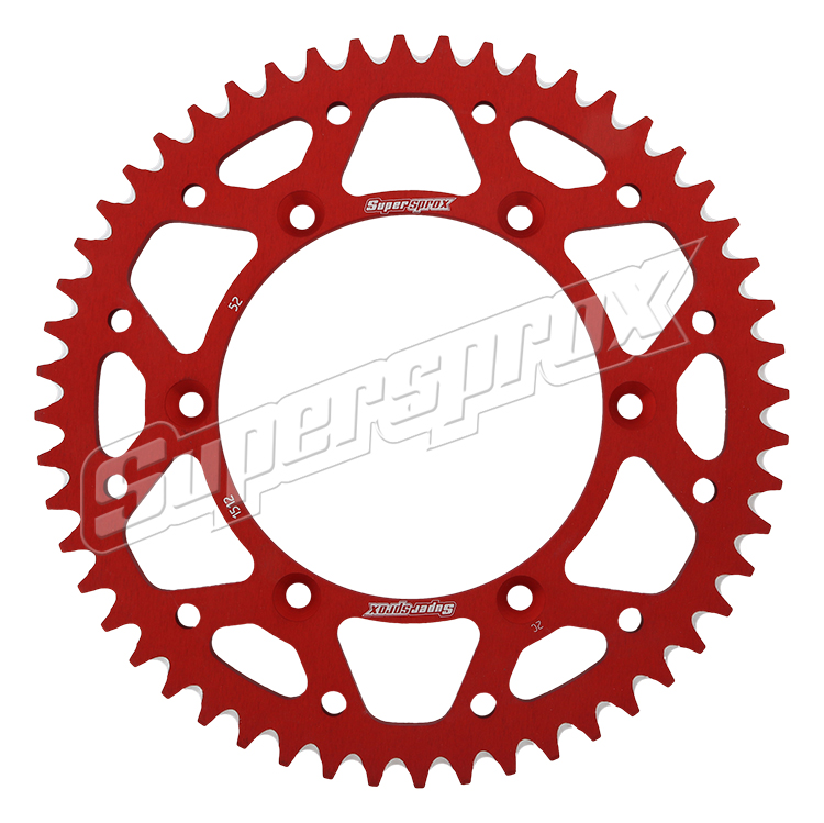New Supersprox Red Aluminum Sprocket, 52T, Chain Size 520, Ral-1512-52-Red