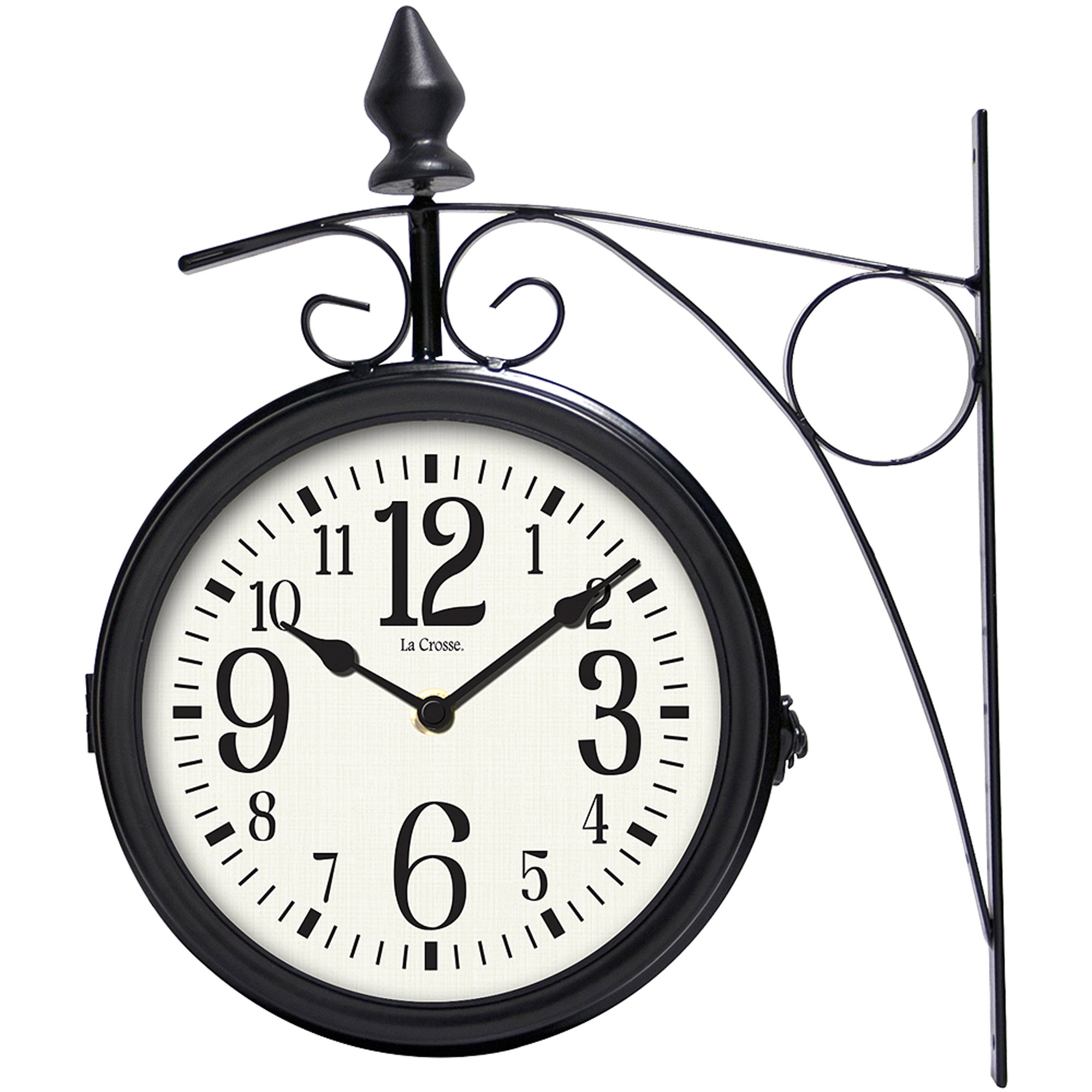 "La Crosse 104-730 8"" Dual-Faced Outdoor Station Metal Clock and Thermometer"