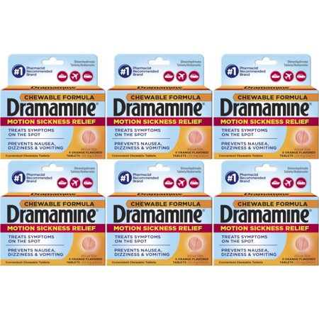 6 Pack Dramamine Motion Sickness Relief, Chewable Tablets Orange Flavor, 8 each