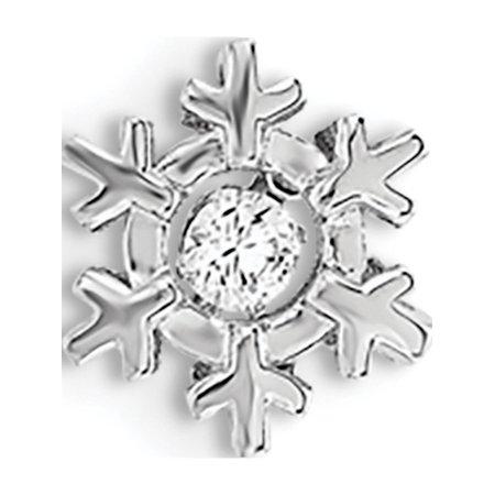 925 Sterling Silver Polished Vibrant CZ Snowflake Pendant / Charm - image 2 de 2