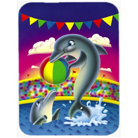 Dolphins performing for the crowds Glass Cutting Board Large