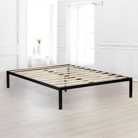 Platform Bed Frame Queen Size Mattress Foundation Wooden Supportive ...