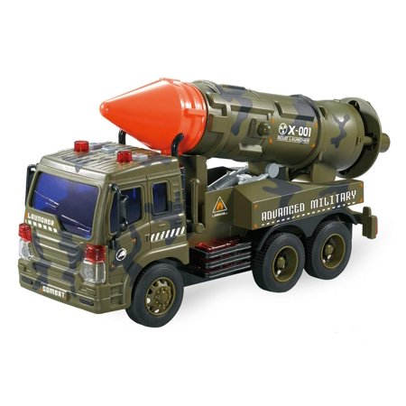 Friction Powered Launcher Fighter Military Truck - Pull Back Missile Carrier Army Vehicle w/ Lights & Sounds - Pretend War & Action