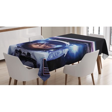 Cat Tablecloth  Funny Astronaut Cat Above Earth In Outer Space Explorer Kitty Mission Humor Image  Rectangular Table Cover For Dining Room Kitchen  60 X 90 Inches  Blue White  By Ambesonne