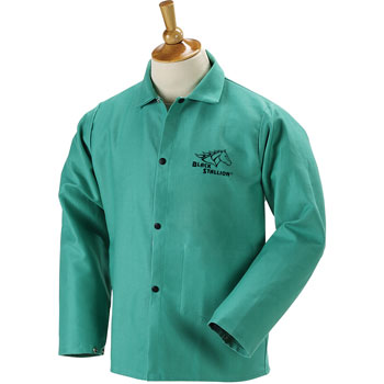 "Black Stallion F9-30C 30"" 9oz. Green FR Cotton Welding Jacket, Small"
