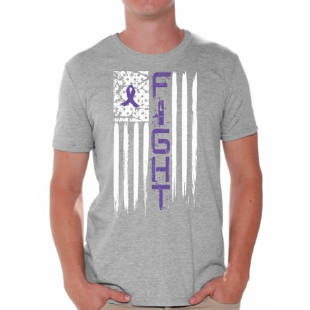 Purple For Cancer (Awkward Styles Men's Fight Cancer Graphic T-shirt Tops USA Flag Purple Ribbon for)
