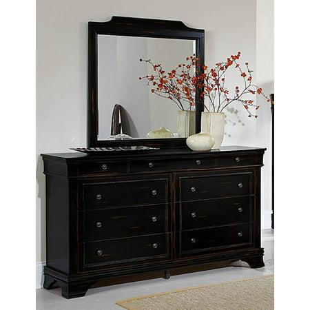 dresser and mirror set in black. Black Bedroom Furniture Sets. Home Design Ideas