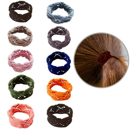10PCS Womens Ponytail Holders Elastic Hair Tie Seamless Hollow Hair Rope Hair Accessories for Kids Girls](50s Ponytails)