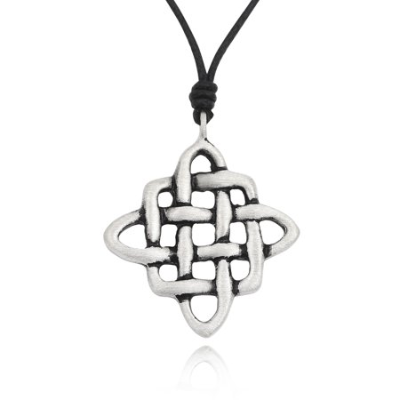 Stunning Celtic Knot Silver Pewter Charm Necklace Pendant Jewelry With Cotton Cord