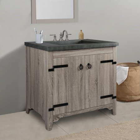 Rustic Grey 26 inch 2-Door Bathroom Vanity with Cement Top ()