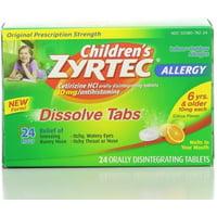 3 Pack - Zyrtec Children's 24 Hour Allergy Dissolve Tabs, Citrus 24 ea