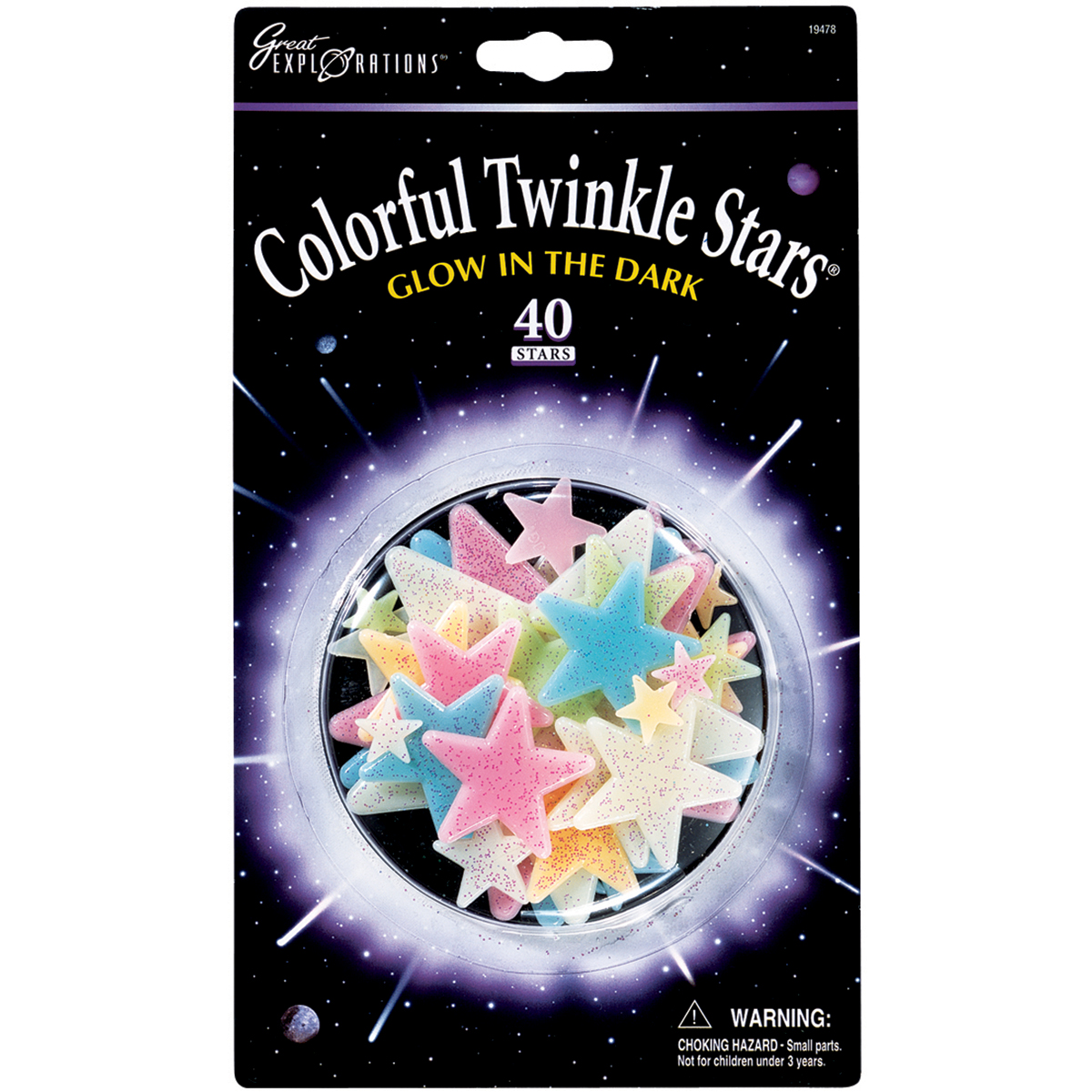Glow-In-The-Dark Star Packs-Colorful Twinkle Stars 40/Pkg