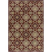 2.6' x 4.6' Latticework Grid Burgundy with Beige, Black and Green Area Throw Rug