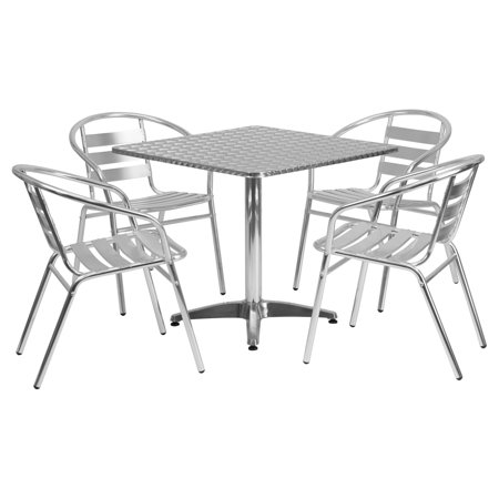 Aluminum Slat Table - Flash Furniture 31.5'' Square Aluminum Indoor-Outdoor Table with 4 Slat Back Chairs