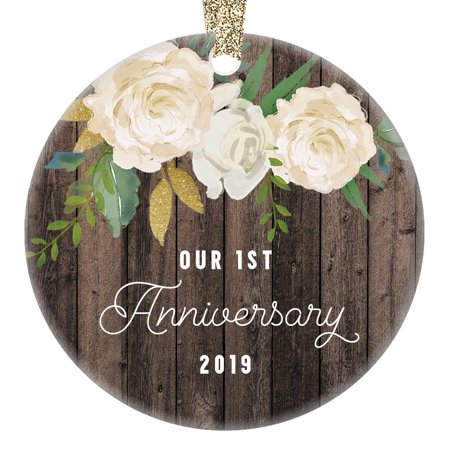 Our 1st Anniversary Ornament 2019, First Year Married Christmas Gift, Wedding Anniversaries Marriage Couple Him Her 3