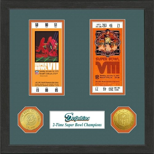 NFL Framed Wall Art by The Highland Mint, Miami Dolphins - Super Bowl Championship Ticket