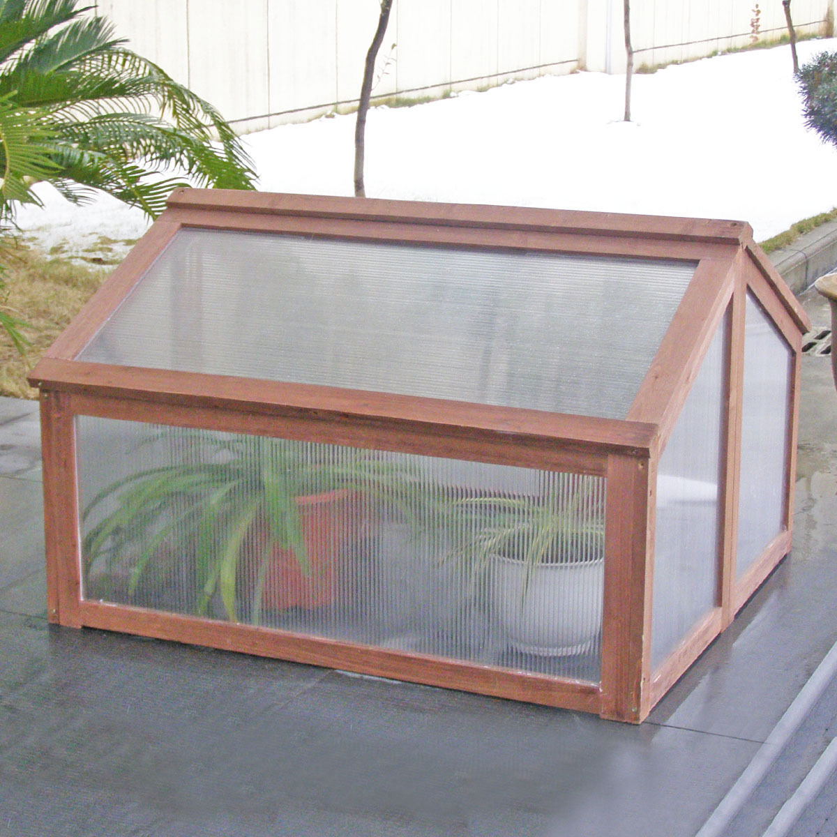 Costway Double Box Garden Wooden Green House Cold Frame Raised Plants Bed Protection