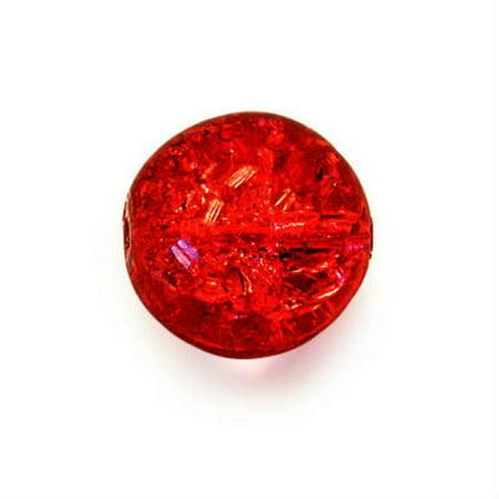 Czech Glass Druk 8mm Round Crackle Siam Ruby Red (25) (Siam Ruby Red Glass)