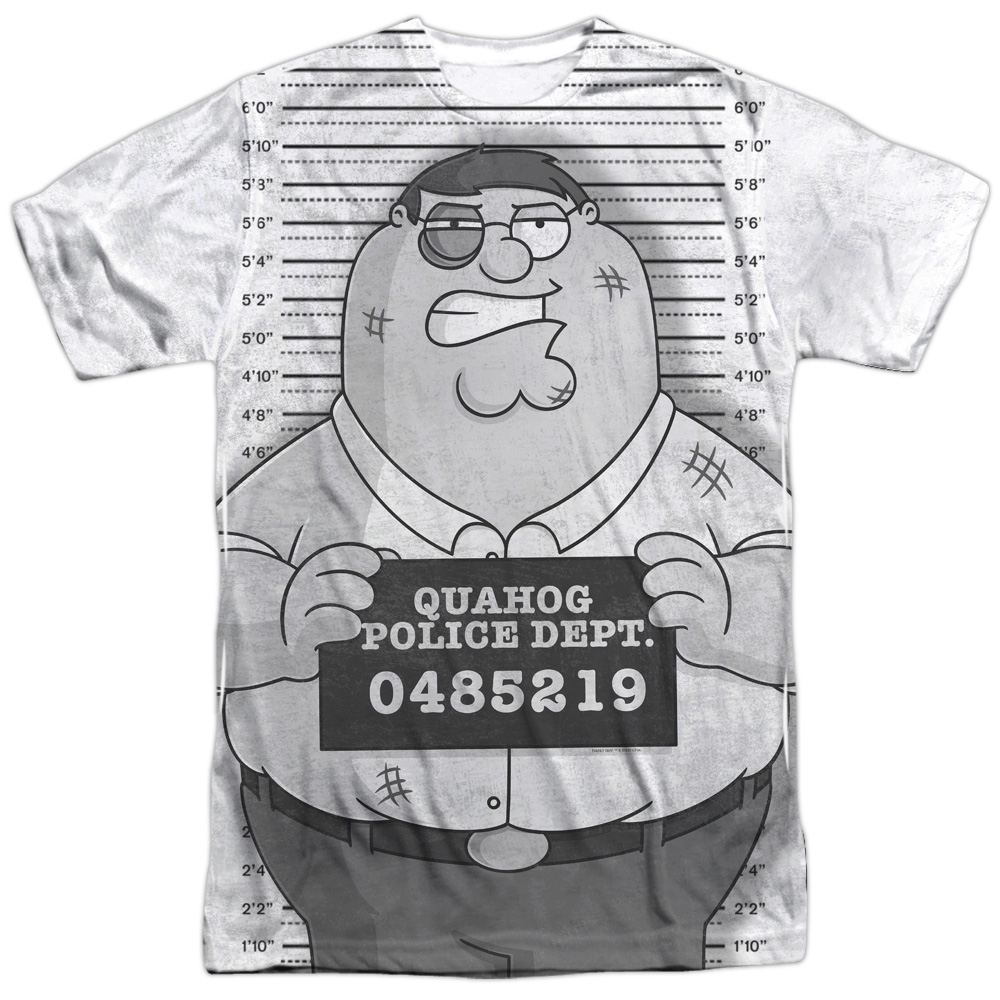 Family Guy Adult Cartoon TV Series Peter Under Arrest Adult Front Print T-Shirt