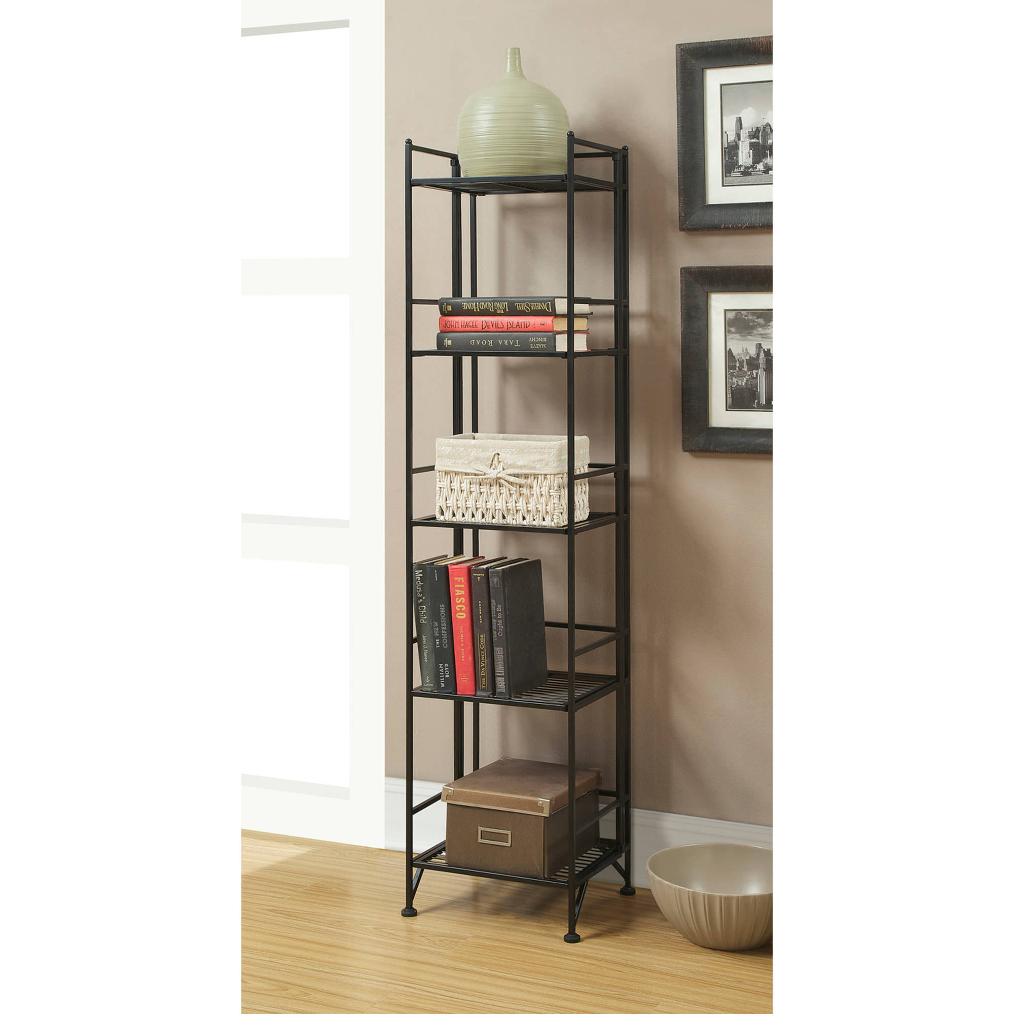 Convenience Concepts Designs2Go Metal Folding 5 Shelf Bookcase, Multiple Finishes