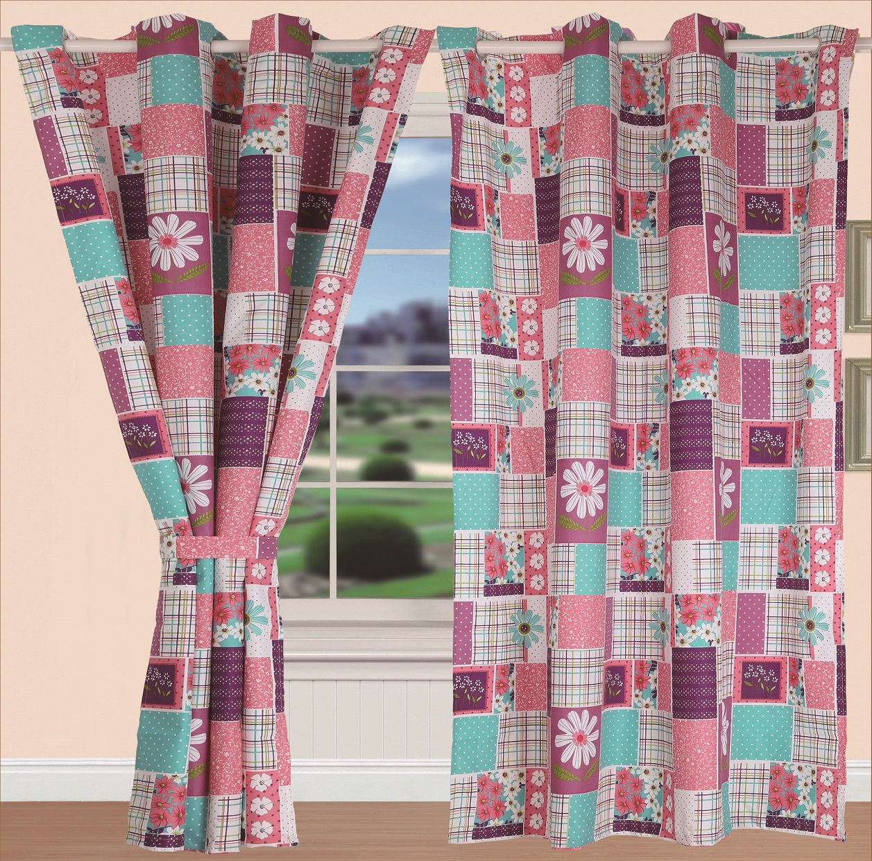 All American Collection New 2pc Twin Size Printed Bedspread Set with Matching Curtain