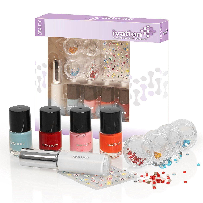 nail polish kits gift sets Including 4 Polishers 4 Nail Gems Nail Art Pen and Nail Stickers