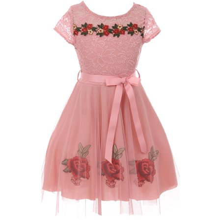 38c0d4afc11 BluNight Collection - Little Girls Cap Sleeve Floral Lace Roses Tulle  Christmas Holiday Flower Girl Dress Rose 4 (2J0K9S7) - Walmart.com