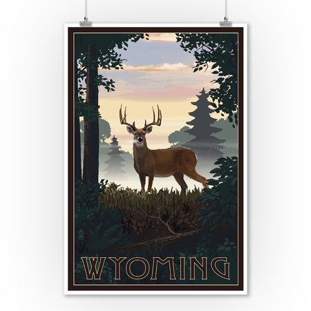 Wyoming - Deer & Sunrise - Lantern Press Artwork (9x12 Art Print, Wall Decor Travel -