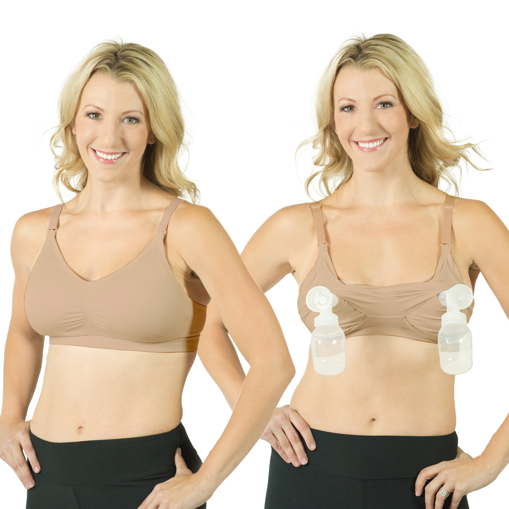 Rumina Pump&Nurse Seamless all-in-one Nursing Bra for maternity, nursing with built in hands-free pumping bra