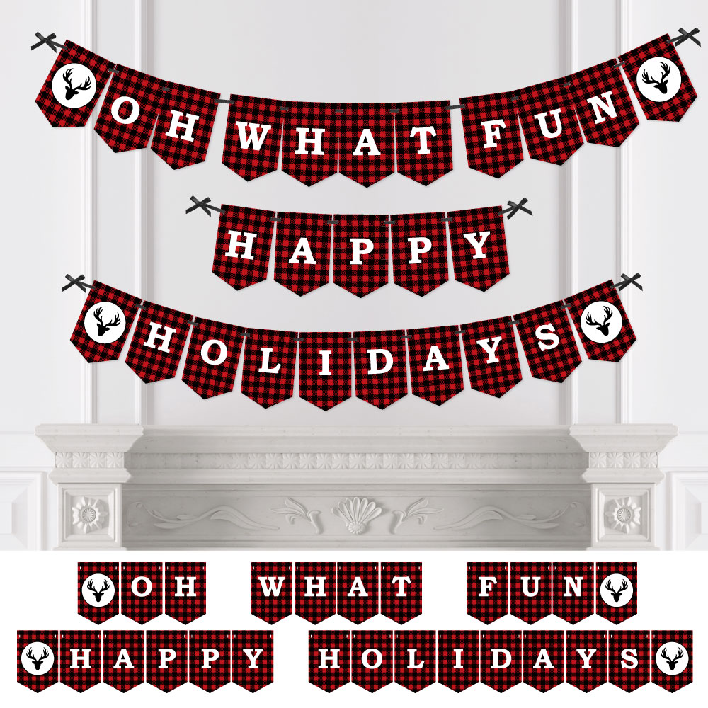 Prancing Plaid - Happy Holidays Bunting Banner - Buffalo Plaid Party Decorations - Oh What Fun Happy Holidays