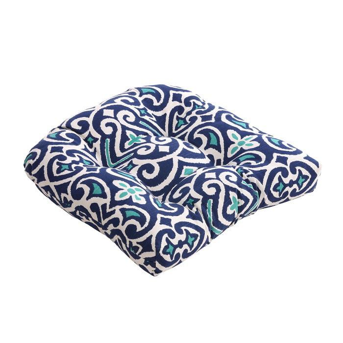 "Eco-Friendly Dark and Light Blue Damask Pattern Chair Cushion 19"" x 19"""