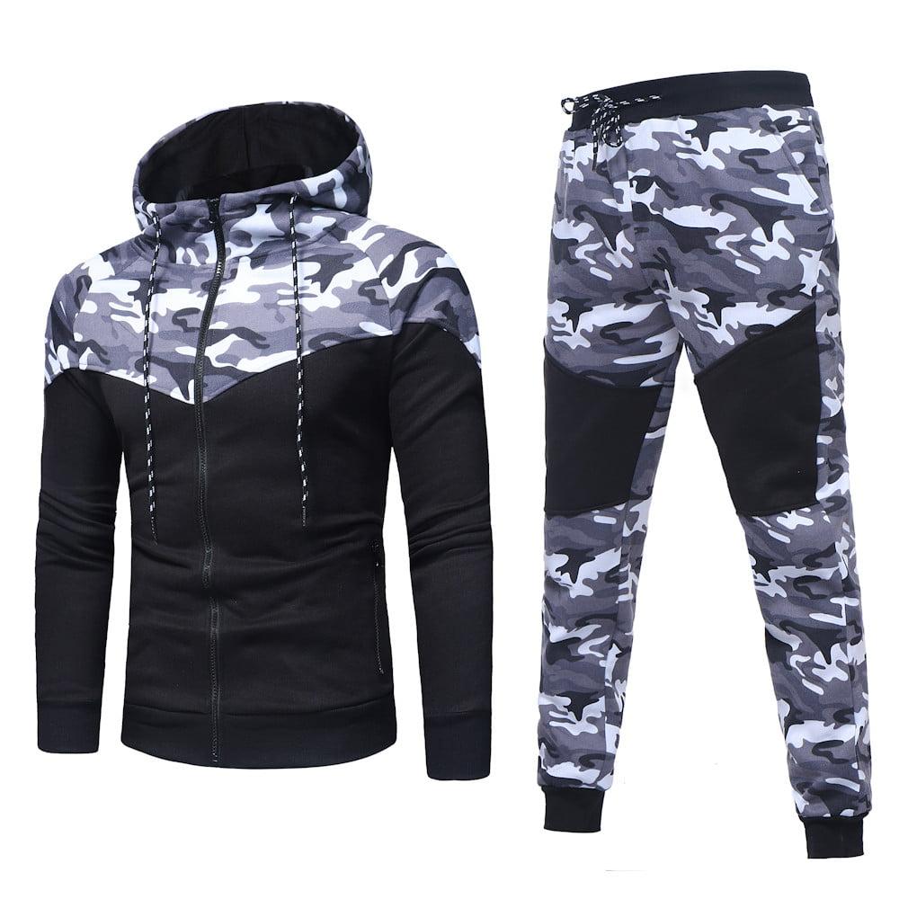 Men's Autumn Winter Camouflage Sweatshirt Top Pants Sets Sports Suit Tracksuit