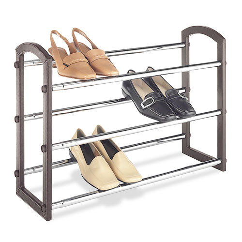 Whitmor Expandable 3-Tier Shoe Rack, Faux Leather