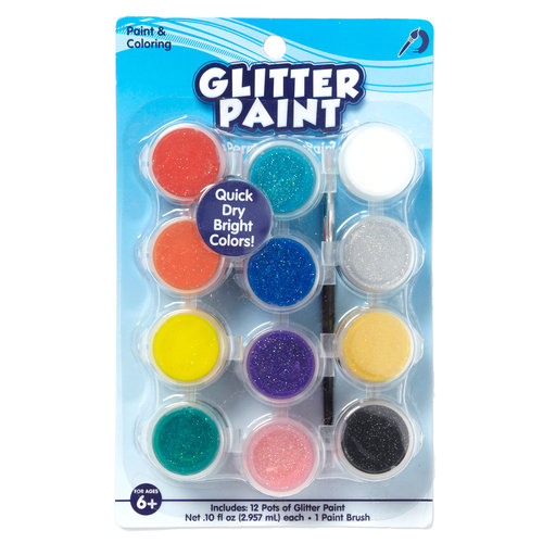 Kids Craft 12ct Glitter Paint Pots, Assorted