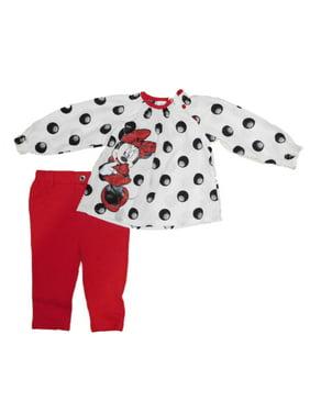 7a804d342 Product Image Disney Minnie Mouse Infant Girl White Black Dot Shirt Red  Leggings Pants Set