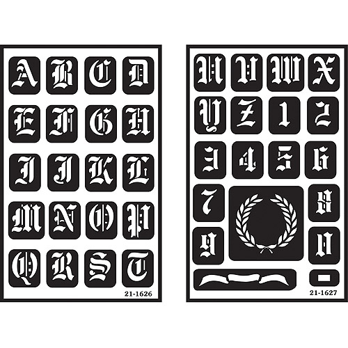 """Armour Products Over 'n' Over Reusable Glass Etching Stencils 5""""x8"""", Old English Alphabet, 2/pkg"""
