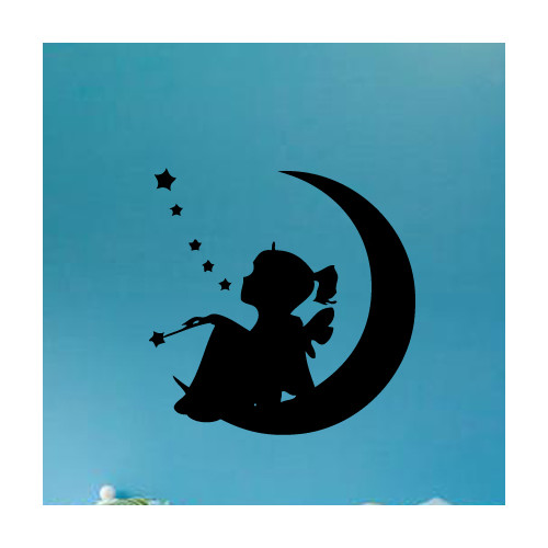 Fox Hill Trading Sitting on the Moon Vinyl Wall Decal