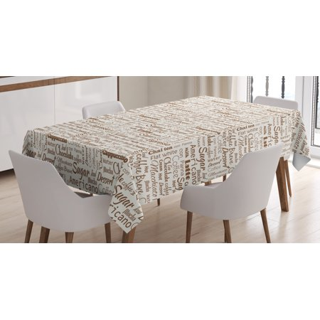 Modern Decor Tablecloth, Coffee Themed Quotes Macchiato Mocha Americano Breve Dessert Artistic Graphic, Rectangular Table Cover for Dining Room Kitchen, 52 X 70 Inches, Cream Umber, by Ambesonne](Coffee Table Cloth)
