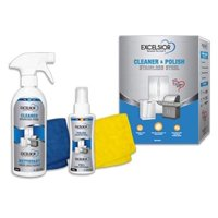 Excelsior Stainless Steel Cleaner & Polish Kit | 475ml Cleaner + 120ml Polish + Color Coded Cleaning Cloths