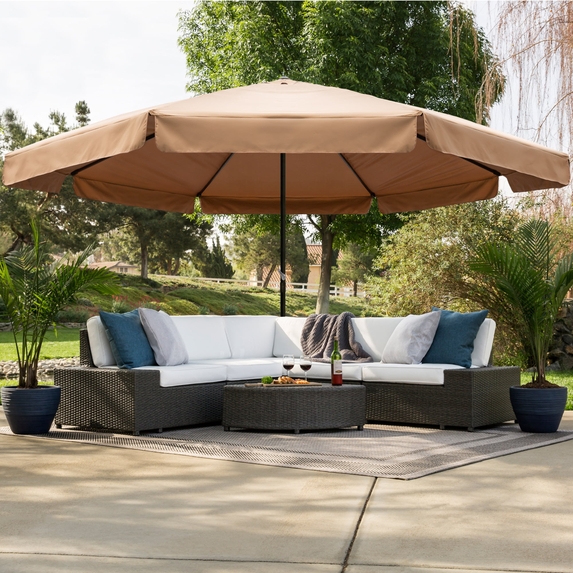 Best Choice Products 16ft Extra Large Outdoor Patio Market Umbrella W Cross Base Crank Handle Air Vent Tan Walmart Com Walmart Com