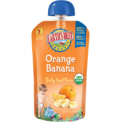 12 Pack : Earth's Best Organic Orange Banana Puree, 4 Oun...