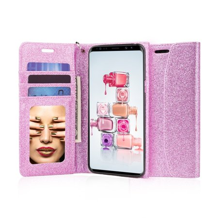 J&D S9 Plus Case, [Glittering] [Mirror Function] [RFID Blocking] Sparkling Heavy Duty Protective Shock Resistant Flip Cover Wallet Case with Card Slots and Makeup Mirror for Samsung Galaxy S9 Plus - Galaxy Make Up