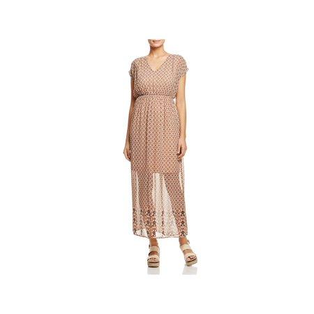 Vero Moda Womens Printed V Neck Maxi Dress