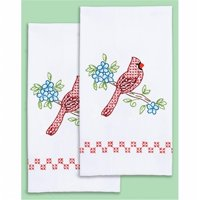 17 x 28 in. Cardinal Stamped White Decorative Hand Towel Pair