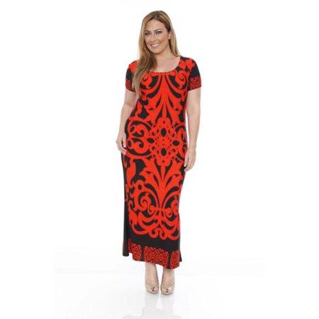 White Mark White Mark Women S Plus Size Orange Black Pattern Maxi